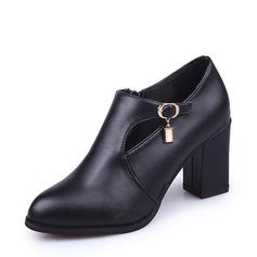 Frauen PU Stämmiger Absatz Stiefel Stiefelette mit Strass Reißverschluss Schuhe (088137075)