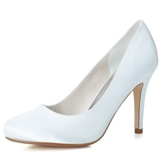 Women's Satin Stiletto Heel Closed Toe Pumps (047057093)