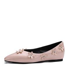 Donna Similpelle Senza tacco Ballerine Punta chiusa con Fiore scarpe (086153093)