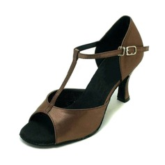 Women's Satin Sandals Latin With T-Strap Dance Shoes (053008214)