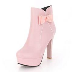Femmes Similicuir Talon bottier Escarpins Plateforme Bottes avec Bowknot chaussures (088190944)