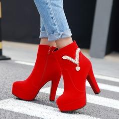 Frauen Veloursleder Stämmiger Absatz Absatzschuhe Plateauschuh Stiefel mit Strass Reißverschluss Schuhe (088137545)