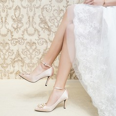 Women's Satin Stiletto Heel Closed Toe Pumps With Pearl (047201445)