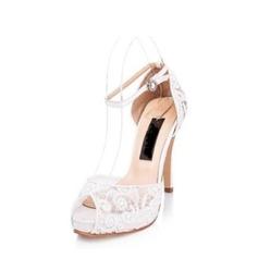 Женщины Кружева Высокий тонкий каблук Открытый мыс Платформа Сандалии Beach Wedding Shoes (047126548)