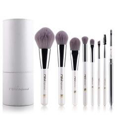 Artificial Fibre Pure 8Pcs White Pouch Makeup Supply (046074573)