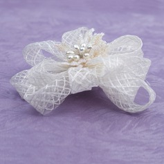 Gorgeous Imitation Pearls/Net Yarn Flowers & Feathers (042026174)