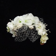 Lovely Artificial Silk/Tulle Flowers & Feathers (042026133)