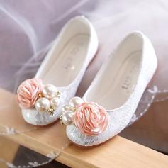 Ragazze Punta rotonda Punta chiusa Pizzo Heel piatto Ballerine Scarpe Flower Girl con Perline Fiore (207127645)