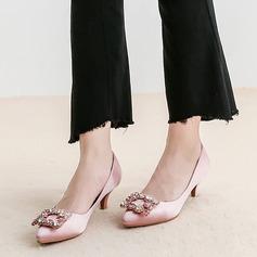 Frauen Seide wie Satin Stöckel Absatz Absatzschuhe mit Kristall Schuhe (085105798)