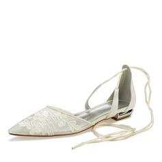 Frauen Mesh Flascher Absatz Geschlossene Zehe Flache Schuhe mit Zuschnüren Applikationen (047187621)