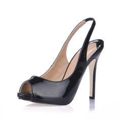 Patent Leather Stiletto Heel Sandals Peep Toe Slingbacks shoes (085017514)