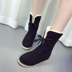 Frauen Veloursleder Flascher Absatz Stiefel Stiefel-Wadenlang Schneestiefel mit Zuschnüren Schuhe (088147496)
