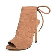 Frauen Wildleder Stöckel Absatz Stiefel Peep Toe Slingpumps Stiefelette mit Zuschnüren Schuhe (088111721)
