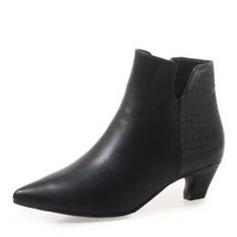 Frauen Kunstleder Niederiger Absatz Stiefel Stiefelette mit Zweiteiliger Stoff Schuhe (088190937)