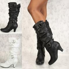 Donna Similpelle PU Tacco a spillo Stiletto Punta chiusa Stivali Stivali al ginocchio con Fibbia Increspature scarpe (088182654)