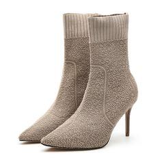 De mujer Tejido Tacón stilettos Salón Cerrados Botas longitud media zapatos (088191410)