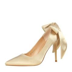 Frauen Satin Stöckel Absatz Absatzschuhe Geschlossene Zehe mit Bowknot Schuhe (085139794)