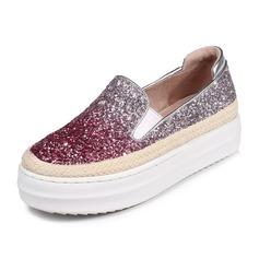 Kvinnor Glittrande Glitter Flat Heel Plattform Stängt Toe skor (086092173)