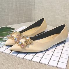 Women's Satin Flat Heel Closed Toe Flats With Crystal (047193137)