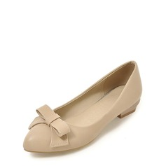 Women's Patent Leather Chunky Heel Flats Closed Toe With Bowknot shoes (086117653)