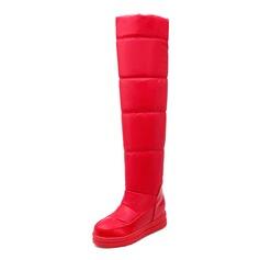 Frauen Wildleder Flascher Absatz Plateauschuh Stiefel über Knie Schuhe (088097334)