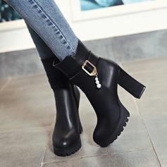 Frauen Kunstleder Stämmiger Absatz Absatzschuhe Plateauschuh Stiefel mit Strass Schnalle Reißverschluss Schuhe (088109410)