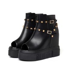 Frauen Echtleder Keil Absatz Plateauschuh Keile Peep Toe Stiefelette mit Schnalle Schuhe (088111347)
