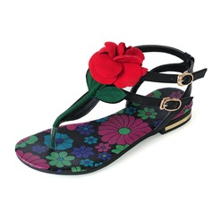 Real Leather Flat Heel Sandals Flats With Flower shoes (087047498)