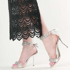 Vrouwen Kunstleer Stiletto Heel Sandalen Peep Toe met Kristal Vastrijgen schoenen (087113614)