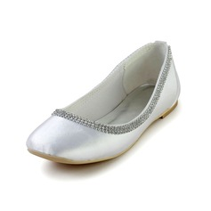 Women's Silk Like Satin Flat Heel Closed Toe Flats With Rhinestone (047028559)