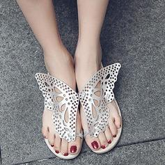 Femmes Similicuir Talon plat Tongs Sandales Beach Wedding Shoes avec Ouvertes (047126497)