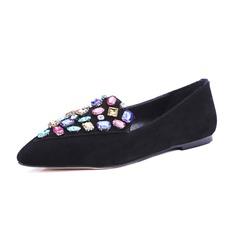 Vrouwen Suede Flat Heel Flats Closed Toe met Strass schoenen (086086134)