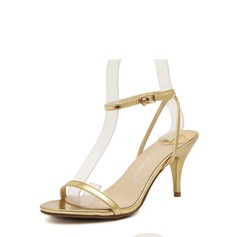 Vrouwen Kunstleer Cone Heel Sandalen Peep Toe met Gesp schoenen (087116068)