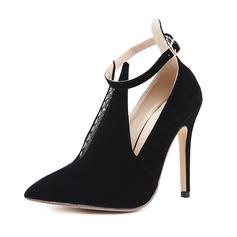 Donna Camoscio Tacco a spillo Stiletto Punta chiusa con Fibbia scarpe (085153097)
