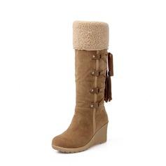 Donna Camoscio Zeppe Zeppe Stivali Stivali al ginocchio Stivali da neve con Allacciato Nappa scarpe (088140220)