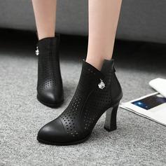 Frauen Kunstleder Stämmiger Absatz Stiefel Stiefelette mit Strass Reißverschluss Hohl-out Schuhe (088125607)