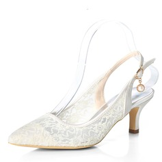 Women's Lace Stiletto Heel Pumps With Buckle (047195479)