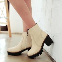 Frauen Kunstleder Stämmiger Absatz Stiefel mit Reißverschluss Schuhe (088109396)