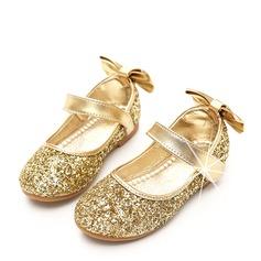 Mädchens Round Toe Geschlossene Zehe funkelnden Glitter Flache Ferse Blumenmädchen Schuhe mit Bowknot Funkelnde Glitzer Klettverschluss (207112605)
