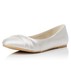 Frauen Satin Flascher Absatz Geschlossene Zehe Flache Schuhe (047048008)