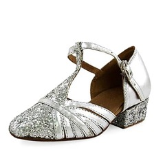 Kids' Leatherette Sparkling Glitter Heels Ballroom With T-Strap Dance Shoes (053013188)