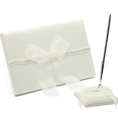 Delicate Faux Pearl/Bow Guestbook & Pen Set (101018199)