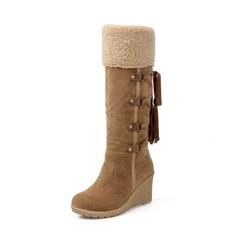 Donna Camoscio Zeppe Stiletto Piattaforma Zeppe Stivali Stivali al ginocchio con Allacciato scarpe (088148347)