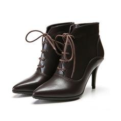 Frauen Kunstleder Stöckel Absatz Plateauschuh Stiefelette mit Geflochtenes Band Zweiteiliger Stoff Schuhe (088098049)