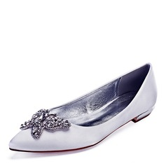 Women's Leatherette Flat Heel Closed Toe Flats With Crystal (047192756)