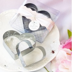 Double Hearts Stainless Steel Cake and Cookie Cutter Mold With Ribbons/Tag (Set of 2 pieces) (051011370)