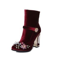 Frauen Wildleder Stämmiger Absatz Absatzschuhe Geschlossene Zehe Stiefel Stiefelette mit Kristall Schnalle Schuhe (088095912)