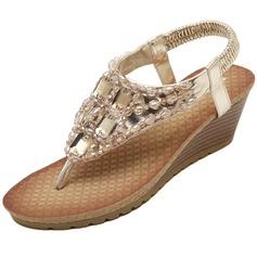 Frauen Kunstleder Keil Absatz Sandalen mit Strass Schuhe (087093229)