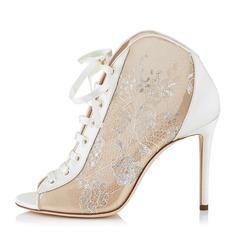 Donna Similpelle Mesh Tacco a spillo Stiletto Punta aperta con Allacciato scarpe (087171522)