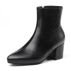 Frauen Kunstleder Stämmiger Absatz Absatzschuhe Geschlossene Zehe Stiefel Stiefel-Wadenlang mit Reißverschluss Schuhe (088182652)